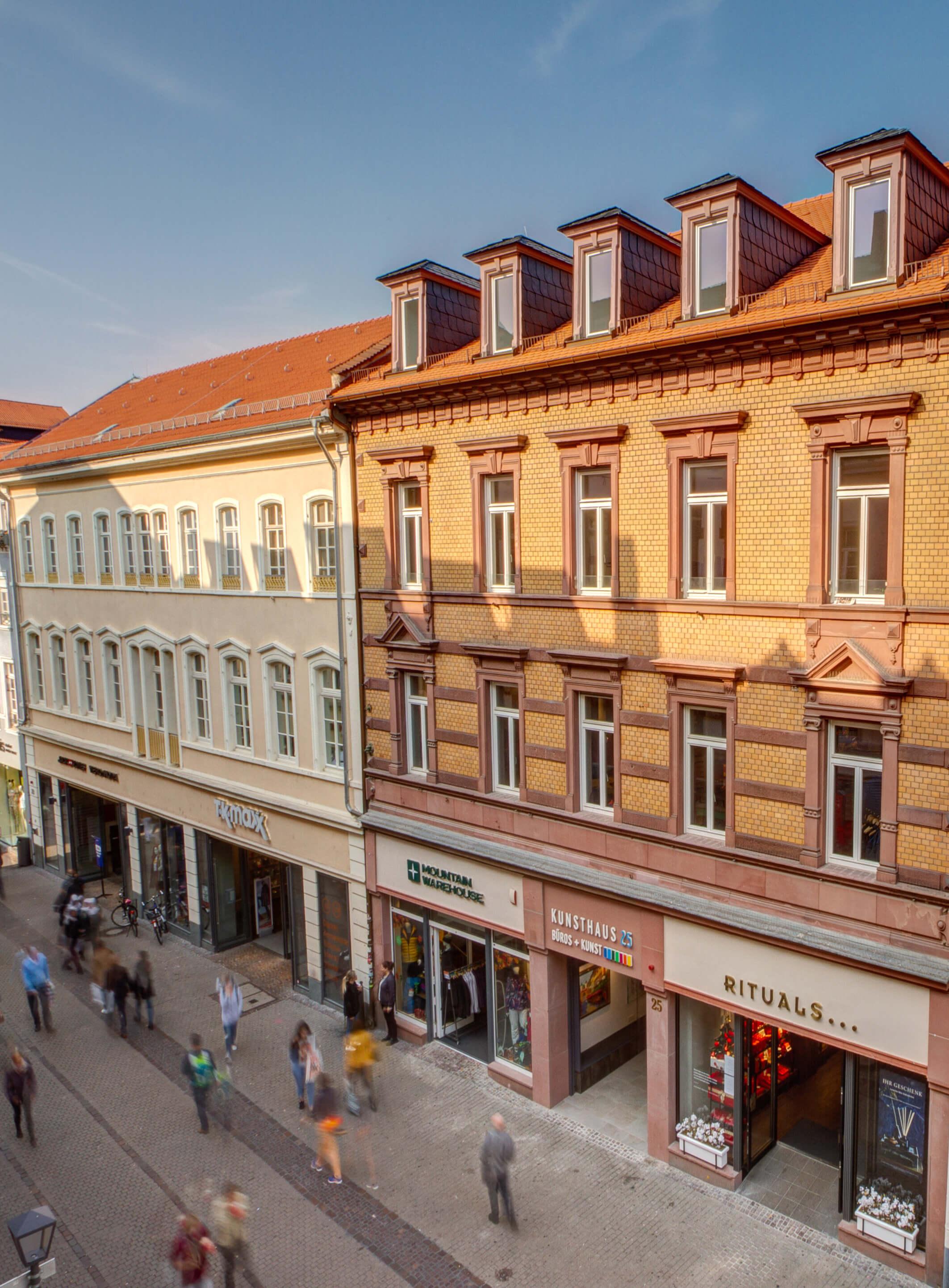 Blick Eingang Kunsthaus 25 von der Hauptstraße 25 in 69117 Heidelberg