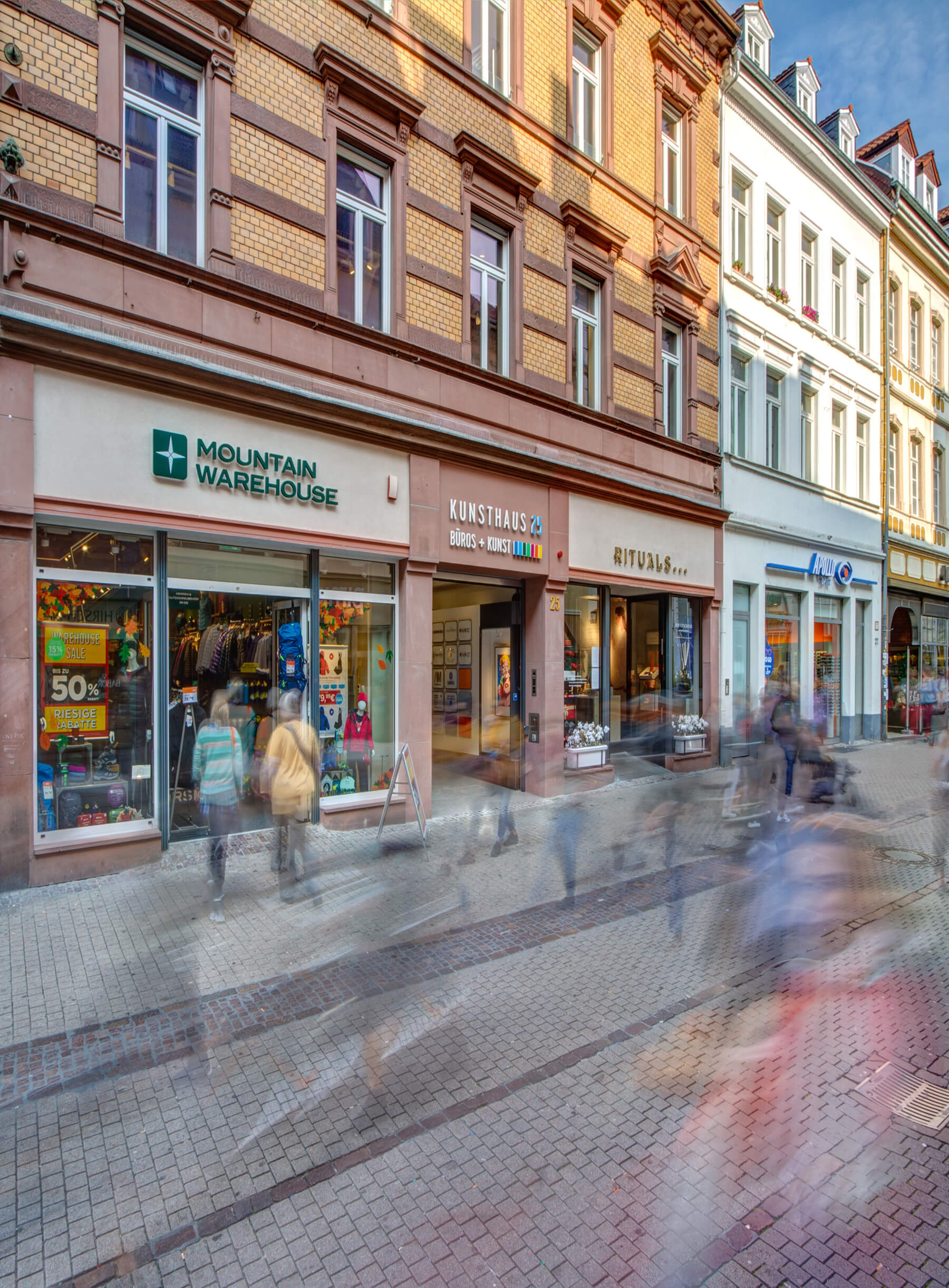 Blick Eingang Kunsthaus 25 von der Hauptstraße 25 in Heidelberg