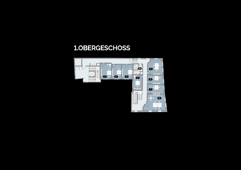 Grundriss Lageplan Kunsthaus 25 1. OG 1. Obergeschoss