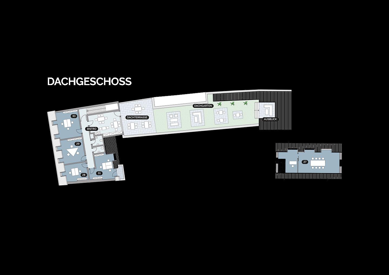 Grundriss Lageplan Kunsthaus 25 3. OG 3. Obergeschoss DG Dachgeschoss