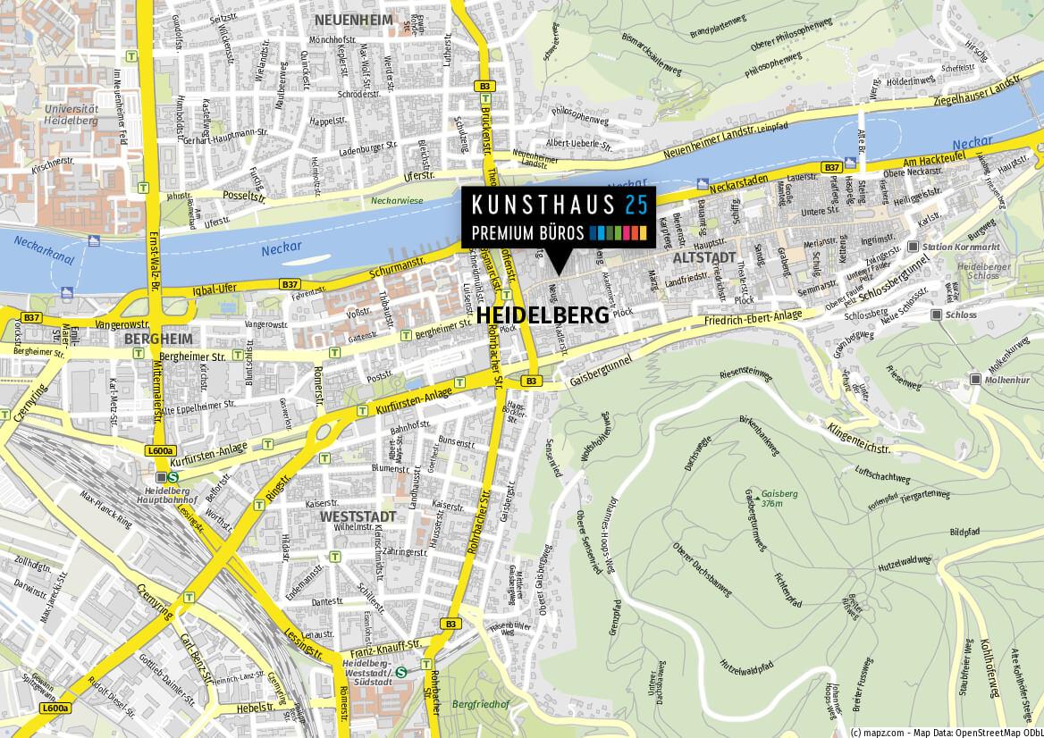 Standort Kunsthauas 25 Karte in Heidelberg - Premium Büros